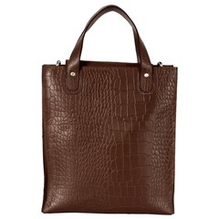 manbefair LINN SHOPPER leather brown croco