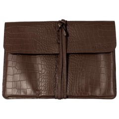 BRIGHTON LAPTOP BAG leather brown croco