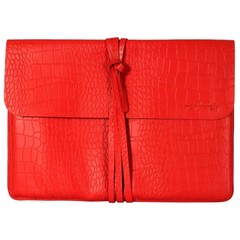 BRIGHTON LAPTOP BAG leather red croco