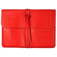 manbefair BRIGHTON LAPTOP BAG leather red croco
