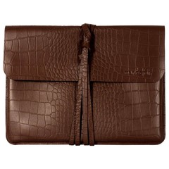 LIVERPOOL LAPTOP BAG brown croco leather