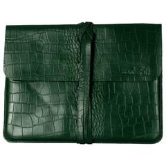 manbefair LIVERPOOL LAPTOP BAG leather green croco