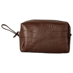 manbefair WINSTON TOILETRY BAG brown croco leather