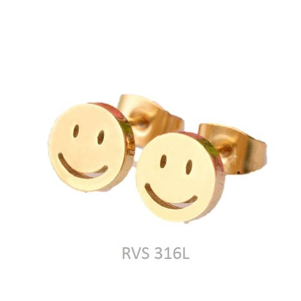 Oorknopjes Smiley Stainless Steel Gold Plated