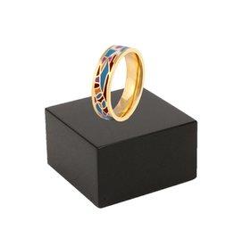 RVS Ring Fantasie Blue (smal)