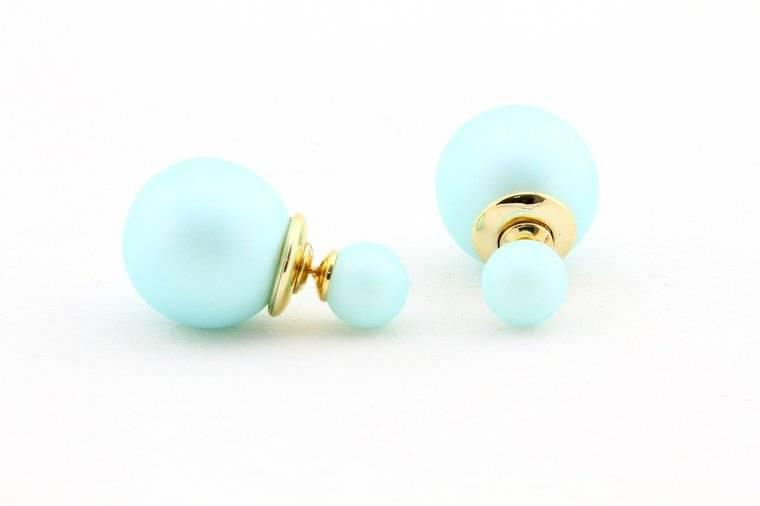 Sazou Jewels Double Dots Matte Baby Blue oorbellen