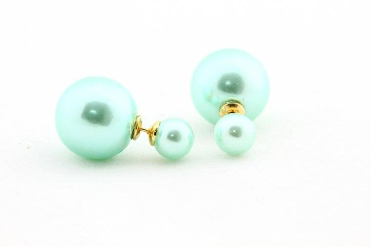 Sazou Jewels Double Dots Matte Shiney Baby Blue Oorbellen