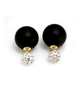 Sazou Jewels Double Dots Matte Black- Crystal Oorbellen