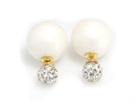 Sazou Jewels Double Dots Matte White - Crystal Oorbellen