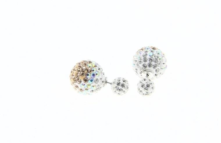 Sazou Jewels Double Dots Champaign Silver - Crystal Oorbellen