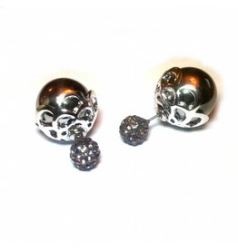 Sazou Jewels Double Dots Old Silver Fantasy Oorbellen