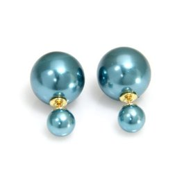 Sazou Jewels Double Dots Shiney Blue Oorbellen