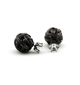 Sazou Jewels Double Dots Black Diamond Knot Oorbellen