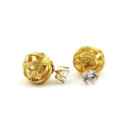Sazou Jewels Double Dots Gold Diamond Knot Oorbellen