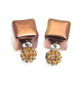 Sazou Jewels Double Dots Brown Cube - Crystal Oorbellen