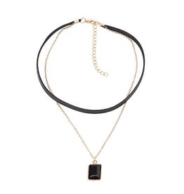 Choker Kettinkje Black Rectangle Gold -  2018