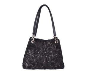 Lederen tas met bloem motief zwart Lederen tas, Tassen