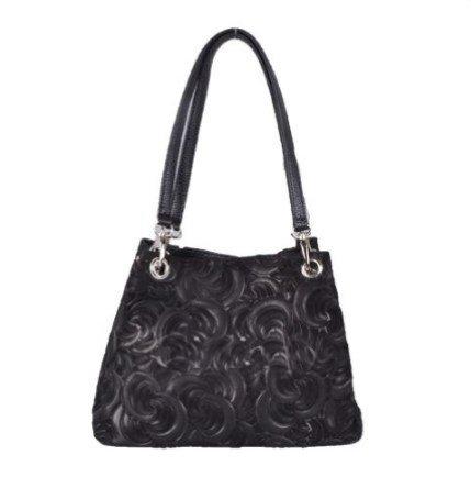 Giuliano Lederen tas met bloem motief - zwart