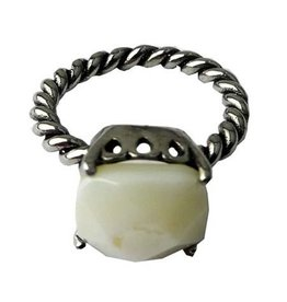 Ring Stainless Steel met Witte Agaat