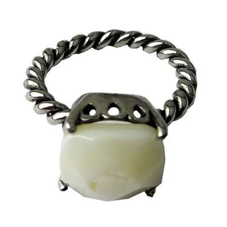 Ring Stainless Steel met Witte Agaat
