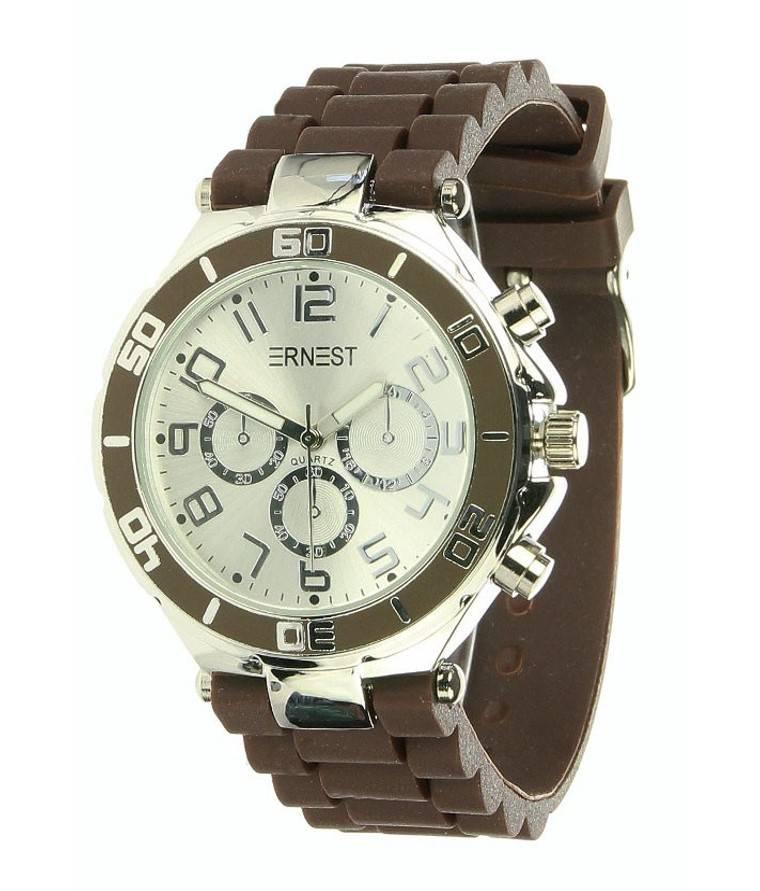 Ernest Horloge Silver Case Choco 7139