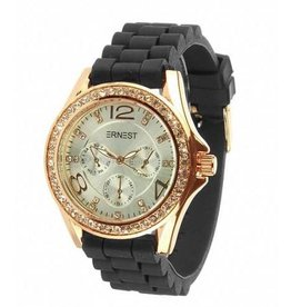 Ernest Horloge Rose Stone Zwart Zilver 7051