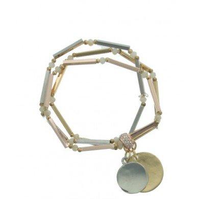 A-Zone 3 verbonden Elastische tubes armbanden met 2 munten