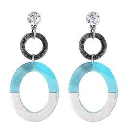 Oorbellen Stekers Double Circels Blue
