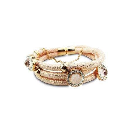 New Bling Armband Pink Snake Leer Stainless Steel 20 cm