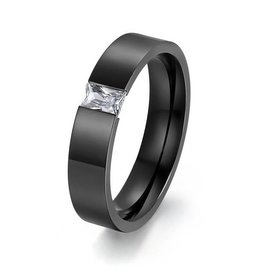 Ring Titanium Steel Black met Zirkonia