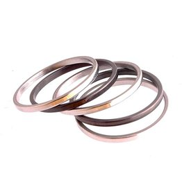 Ring Set Stainless Steel 316L Zwart Zilver