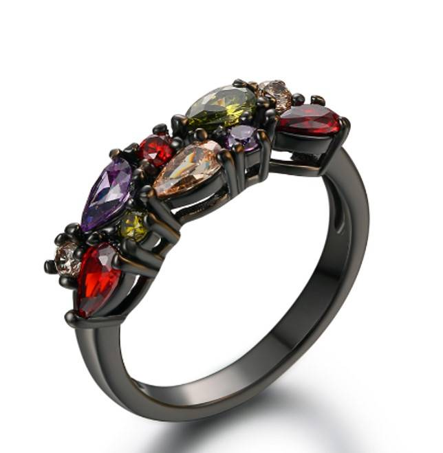 Ring Black Plated Colorfull