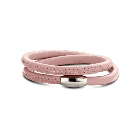 New Bling Armband Leer Baby Pink