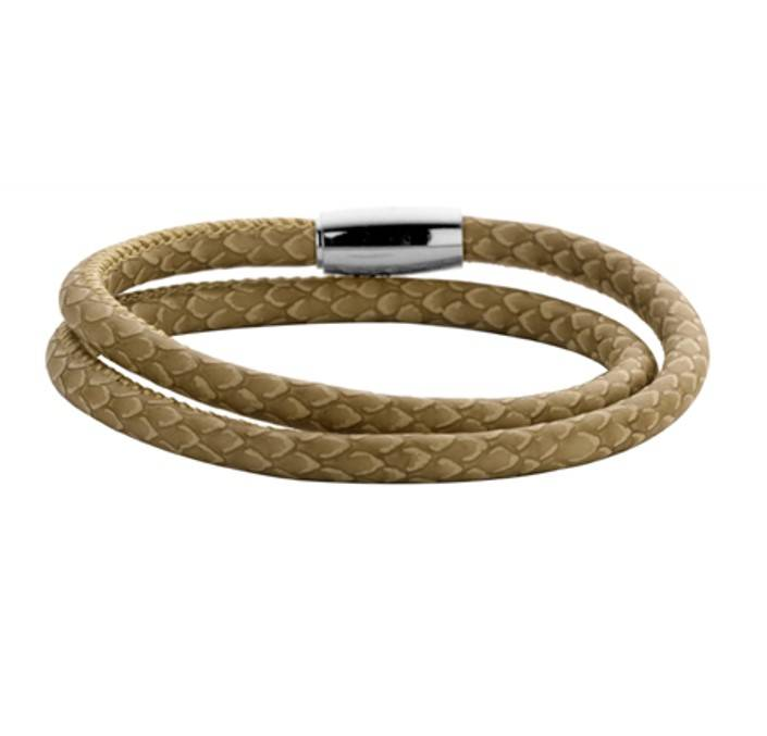 New Bling Armband Slangenleer Zandkleur