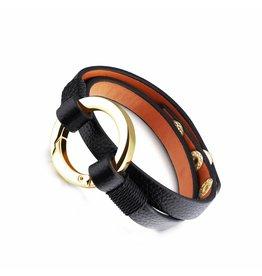 Sazou Jewels Wikkel Armband Black Leather