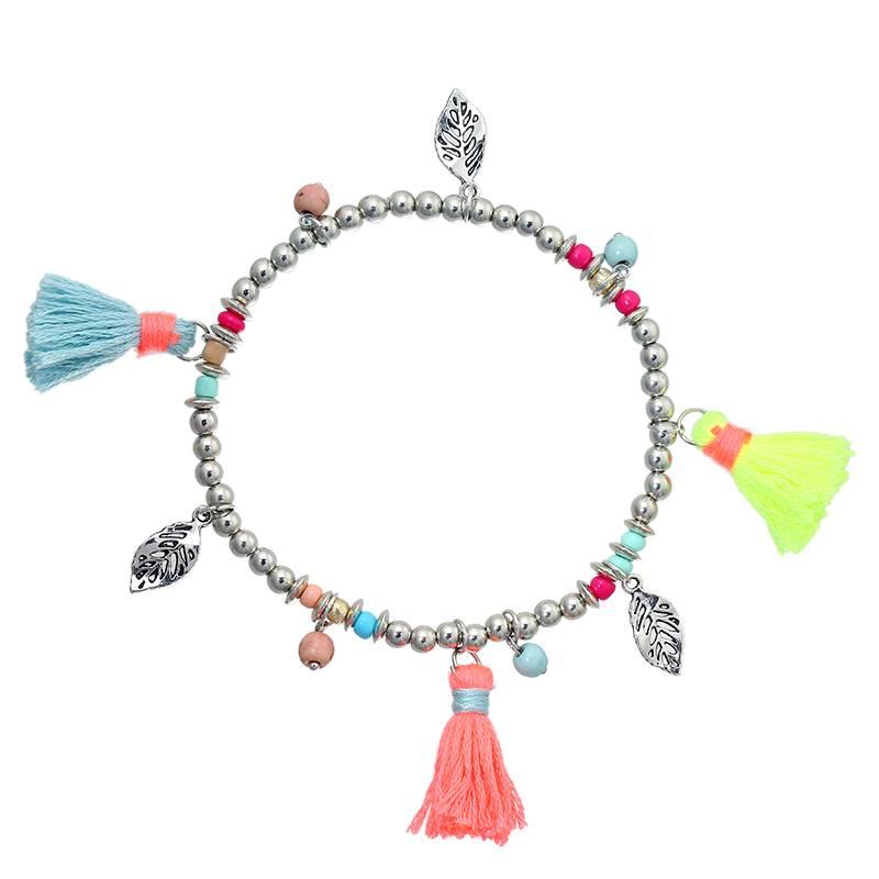 Enkelband Boho Ibiza Colorful Tassels