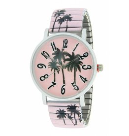 Ernest Horloge Palm Trees Pink 7167
