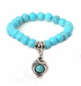 Sazou Jewels Armband Natural Stones Turquoise Druppel Bedel