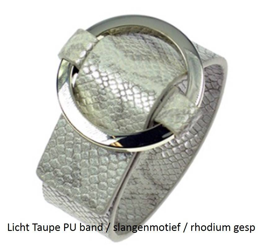 PU Gesp Armband Licht Taupe