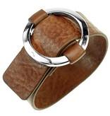 Leren Gesp Armband Cognac