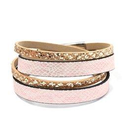 Wikkel Armband Gold-Pink