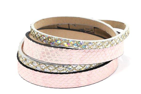 Wikkel Armband Silver Pink met magneetsluiting