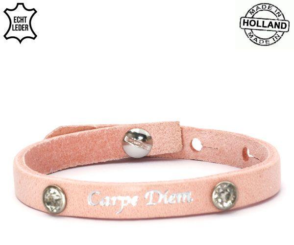 Armband Leer Carpe Diem / Pink