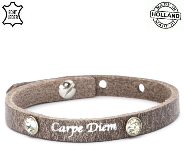 Armband Leer Carpe Diem / Grey-Brown