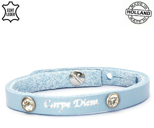 Armband Leer Carpe Diem / Blue