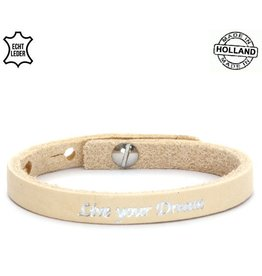 Armband Leer Live Your Dream - Creme