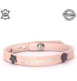 Armband Leer Love is Everywhere - Pink