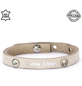 Armband Leer Carpe Diem / Zand