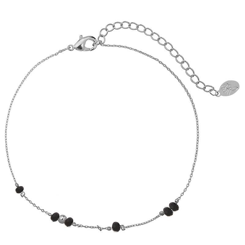 Enkelbandje Tiny Beads Silver - Black