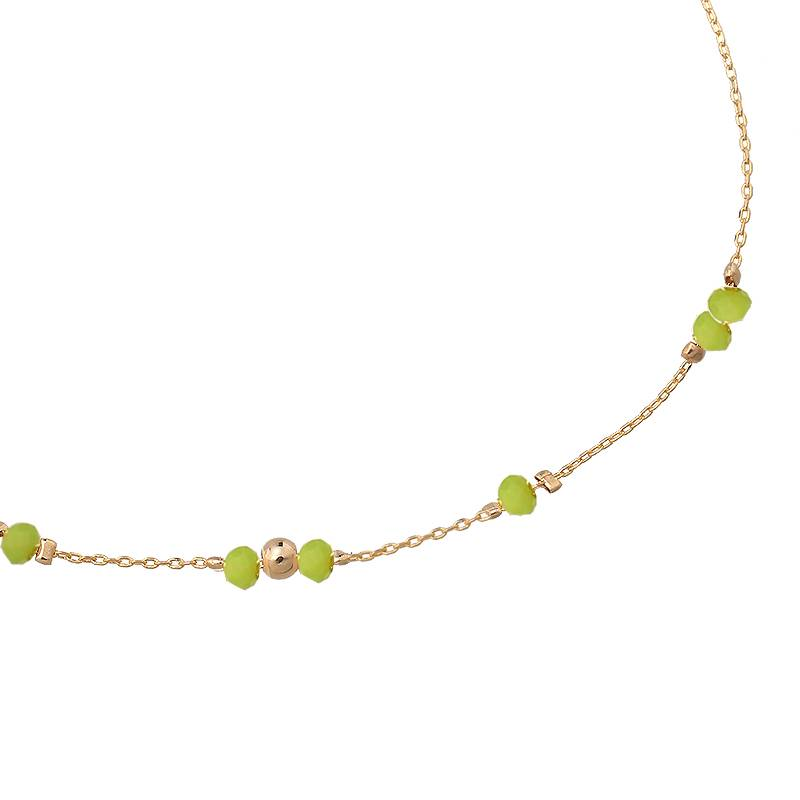 Enkelbandje Tiny Beads - Gold Green